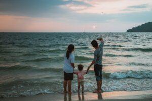 selfie, beach, family